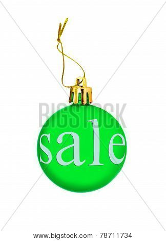 Green Christmas Ball With Sale Tag.isolated.
