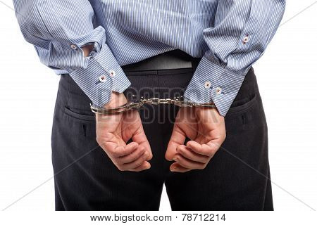 Close Up Of A Man In Handcuffs Arrested, Isolated On White