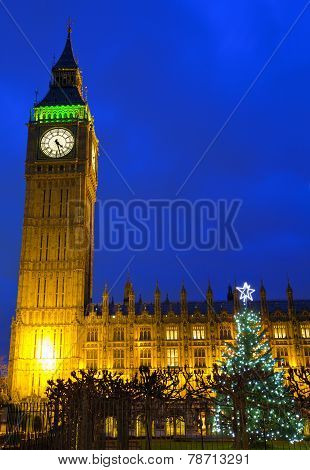 Houses Of Parliament And Christmas Tree