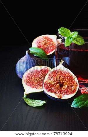 Ripe Figs And  Beverage
