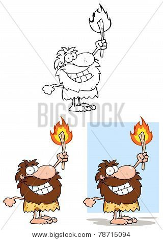 Caveman Holding Up A Torch. Collection Set
