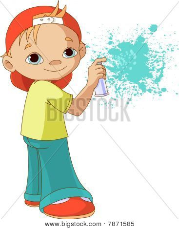 Boy painting graffiti