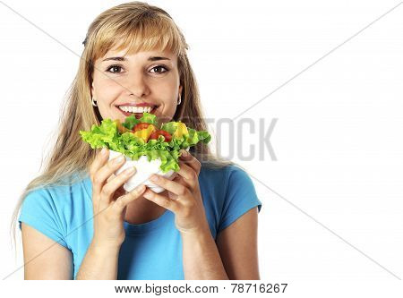 Happy Young Woman Holding  Bowl Of Salad.