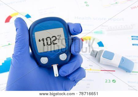 Doctor Making Blood Sugar Test. Hands With Gloves On Medical Background
