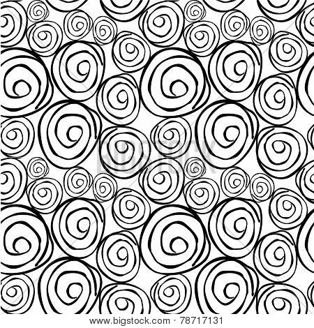 Vector Seamless Pattern With Round Asymmetrical Shapes. Endless Abstract Background. Black & White.