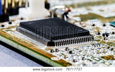 Computer Mainboard Detail View, Closeup