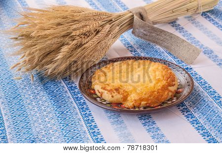 Sheaf Of Wheat And Traditional Ukrainian Bread