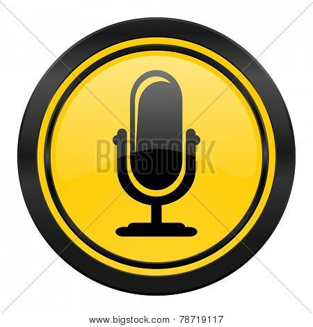 microphone icon, yellow logo, podcast sign
