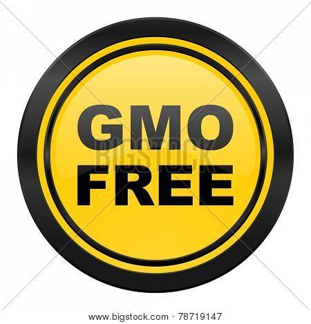 gmo free icon, yellow logo, no gmo sign