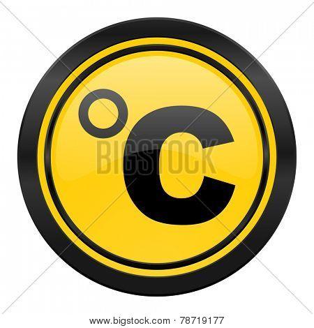 celsius icon, yellow logo, temperature unit sign
