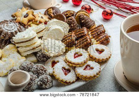 Christmas Cookies And Fresh Tea