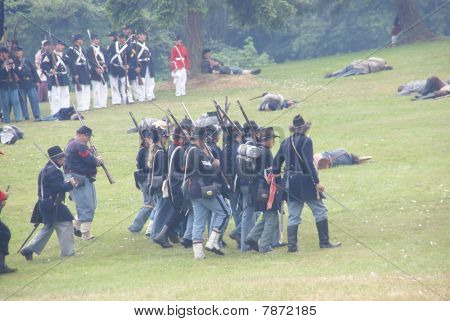 Union Infantry Maneuvers During A Mock Civil War Battle