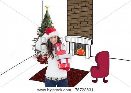 Stressed brunnette in santa hat holding gifts against living room sketch at christmas