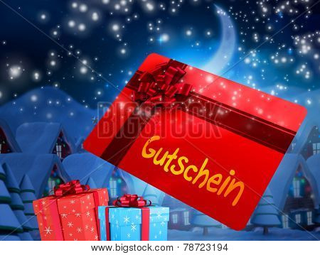 Flying gift card and presents against quaint town with bright moon