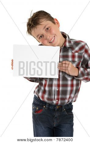 Boy Holding Your Sign Advert Or Message