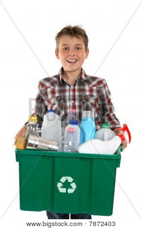 Happy Boy Carrying Rubbish For Recycling