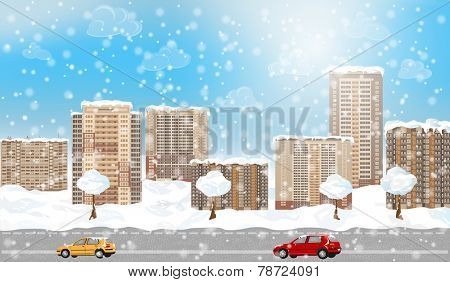 Winter city with snow. EPS 10 format.