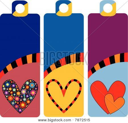 Vector colorful tags or labels with hearts