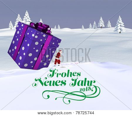 Santa delivering large gift against snowy landscape with fir trees