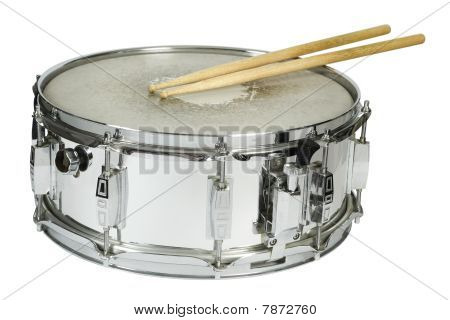 Snare Drum And Sticks Isolated