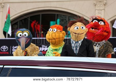 LOS ANGELES - MAR 11:  Sam the Eagle, Fozzie, Walter, Animal at the