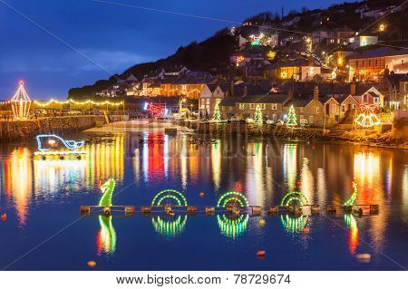 Mousehole Christmas Lights Cornwall