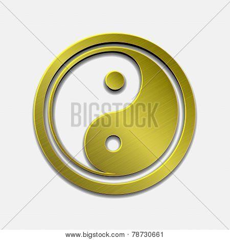 illustration of golden metallic Jin Jang