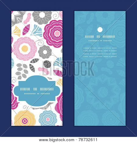 Vector vibrant floral scaterred vertical frame pattern invitation greeting cards set