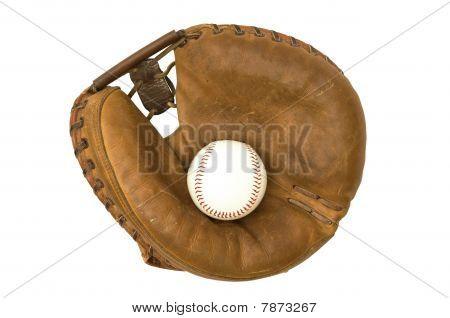 Vintage Catcher's Mitt And Baseball