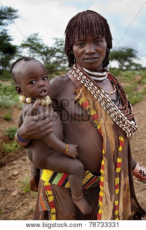 Portrait Of The African Woman With Her Children.