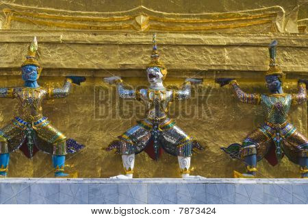 demon models in the Temple of the Emerald Buddha , Bangkok Thailand