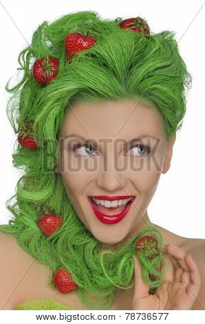 Beautiful Woman With Green Hair And Strawberries