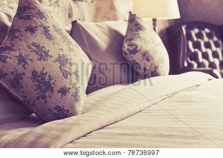 Pillows on an antique luxury bed