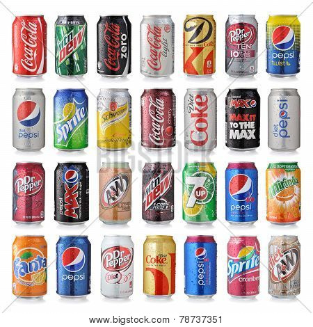 Set Of Various Brands Of Soda Drinks In Aluminum Cans Is