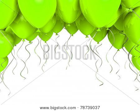 Green party balloons on white background
