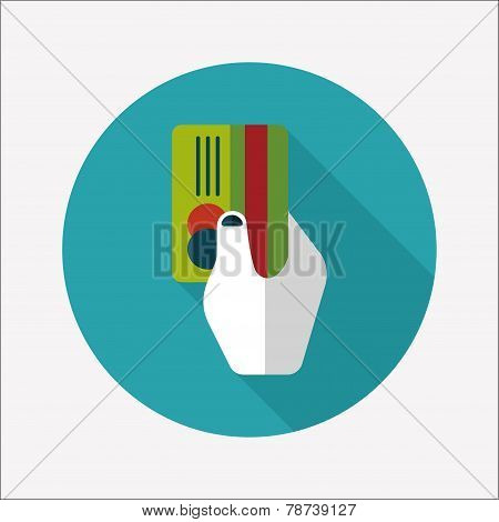 Shopping Credit Card Flat Icon With Long Shadow,eps10