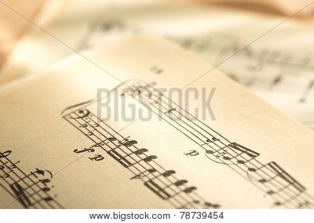 Music Notes On Paper Background
