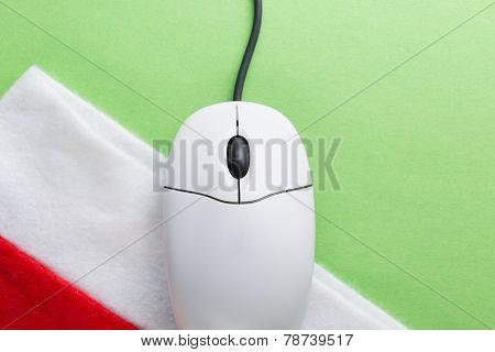 Santa Sock And Computer Mouse