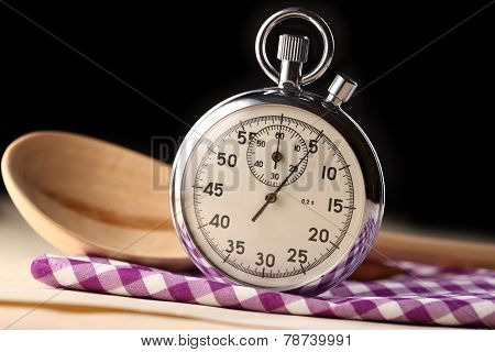 Stopwatch Closeup With Wooden Spoon