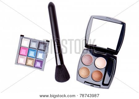 set of compact eyeshadows isolated on white