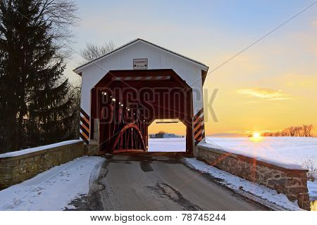 Covered Bridge At Sunset