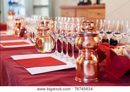 Professional winetasting event, limited focus
