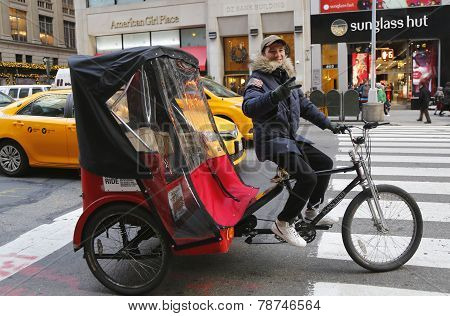 Unidentified bicycle rickshaw in Midtown Manhattan