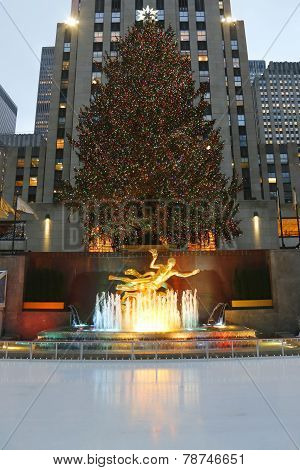 Rockefeller Center Christmas Tree and statue of Prometheus at the Lower Plaza of Rockefeller Center