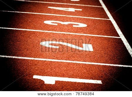 Close up of start on athletics running track