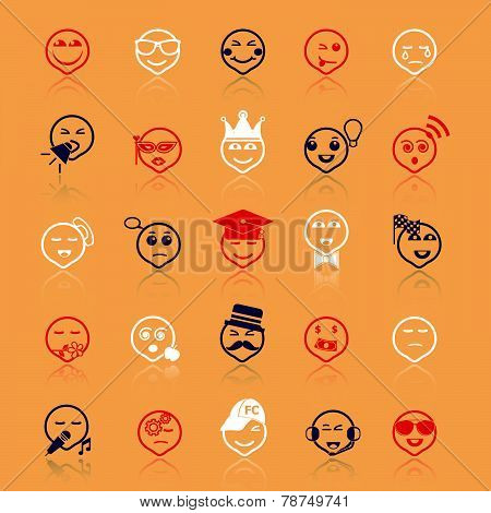 Face Action Line Icons Flat Color With Reflect