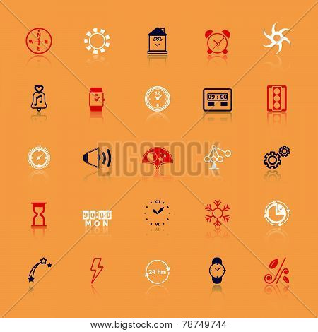 Design Time And Direction Line Icons Flat Color With Reflect