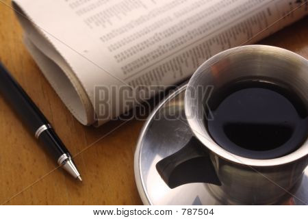 Black Coffee, Pen and Newspaper