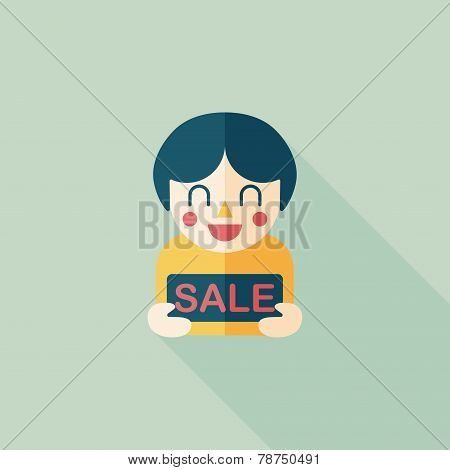 Sale Shopaholic Flat Icon With Long Shadow,eps10