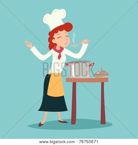 Vintage Happy Smiling Chief Cook Girl Tasting Dish Symbol Food Icon on Stylish Background Retro Cart